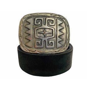 Vtg 90s Aztec Silver Buckle Belt Distress Leather